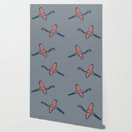 Pink Flamingo watercolor pattern grey Wallpaper