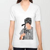 donnie darko V-neck T-shirts featuring Donnie Darko Minimalist Typography Artwork by A Deniz Akerman