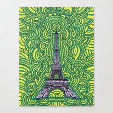 Eiffel Tower Drawing Meditation - purple/yellow/teal Canvas Print