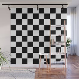 Checker Cross Squares Black And White Wall Mural