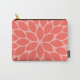 Coral Chrysanthemum Carry-All Pouch