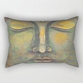 Rusty Golden Buddha Face - Zen and Balance Watercolor Painting Rectangular Pillow