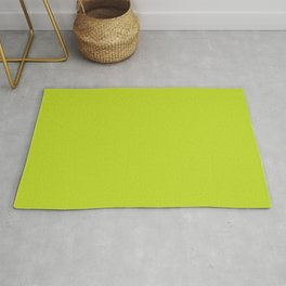 Bright High Vis Lime Green Yellow Solid Color Parable to Pantone Lime Punch 13-0550 Rug