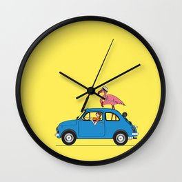 Pink Flamingo Fiat500 Wall Clock