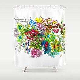 Pretty Germ invasion Ink and Black pen Shower Curtain