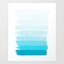 Isla - Ombre Brushstroke - Blue Turquoise, Bright, Summer, Tropical, Beach Ocean Art Print