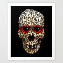 Skull Art - Day Of The Dead 3 Stone Rock'd Art Print