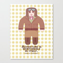 Amelia Earhart Illustration Canvas Print