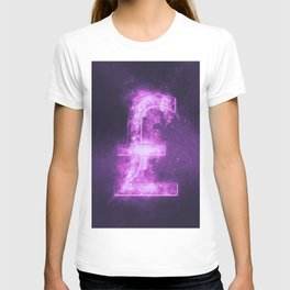 Pound sterling sign, Pound sterling Symbol. Monetary currency symbol. Abstract night sky background. T-shirt