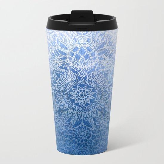 Enchanted Indigo - watercolor + doodle Metal Travel Mug