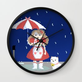 Bee and Puppycat in the Rain Wall Clock