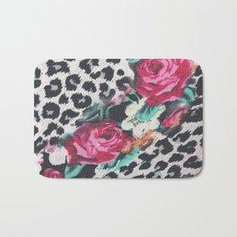 Vintage black white pink floral cheetah animal print Bath Mat