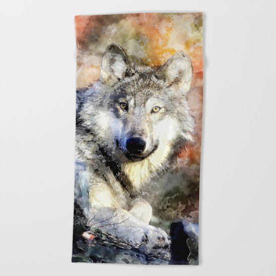 Wolf Animal Wild Nature-watercolor Illustration Beach Towel