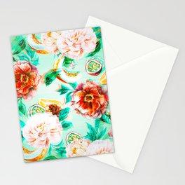 Tropical flowery fruit glitch Stationery Cards