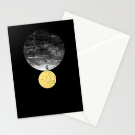 Orson - minimal black and gold modern marble abstract painting dark skywatching galaxy planets space Stationery Cards