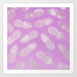 Lilac Pineapple Pattern Art Print