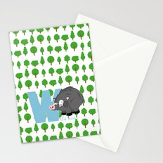 w for wild boar Stationery Cards