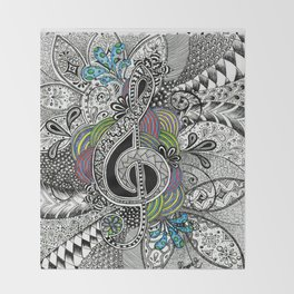 Musical Zentangle Throw Blanket