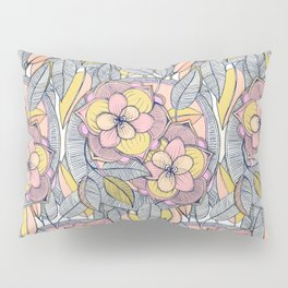 Pink and Peach Linework Floral Pattern Pillow Sham