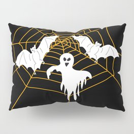 Bats and Ghost white - black color Pillow Sham
