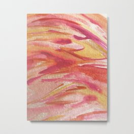 Fire: a colorful abstract watercolor piece in pinks, reds, orange, and yellow Metal Print