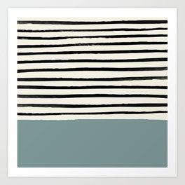 River Stone & Stripes Art Print
