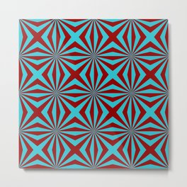 Sunbeams in Turquoise and Red tiled Metal Print