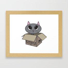 Cat in Box Framed Art Print