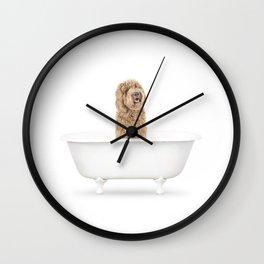 Labradoodle in a Vintage Bathtub Wall Clock
