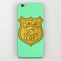taco iPhone & iPod Skins featuring Taco Cop by Josh LaFayette