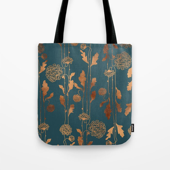 Art Deco Copper Flowers  Umhängetasche