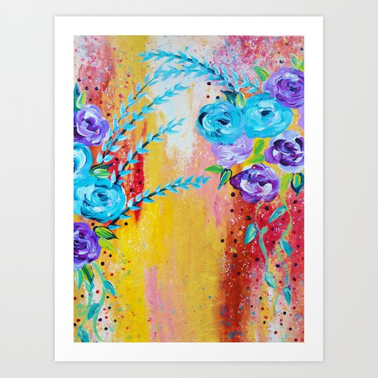 MORE IS MORE - Gorgeous Floral Abstract Acrylic Bouquet Colorful Ikat Roses Summer Flowers Painting Art Print