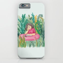 Drawing pause in the garden, nature plant watercolor iPhone Case