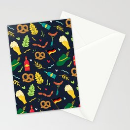 Colorful fun October fest symbols pattern Stationery Cards