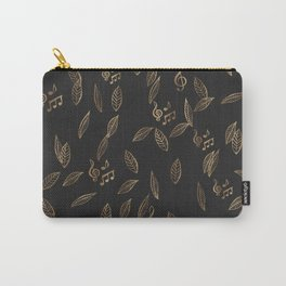 Abstract Gold and Black Musical Fall Leaves Carry-All Pouch