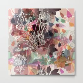 Floral background in pastel colors and autumn plants Metal Print