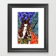 angel or demon in color Framed Art Print