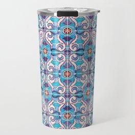 Seamless Floral Pattern Ornamental Tile Design : 11 blue Travel Mug