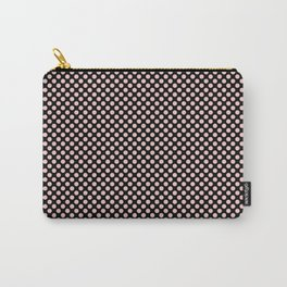 Black and Rose Quartz Polka Dots Carry-All Pouch