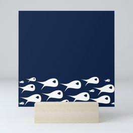 Fish Stripe 2. Minimalist Mid-Century Modern Fish School in White on Nautical Navy Blue Solid Mini Art Print