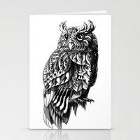 bioworkz Stationery Cards featuring Owl 2.0 by BIOWORKZ