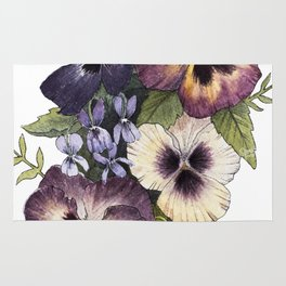 Watercolor Pansy Bouquet Rug