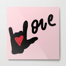 I Love You Love - Pink Metal Print
