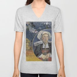 La Belle Angele by Paul Gauguin Unisex V-Neck