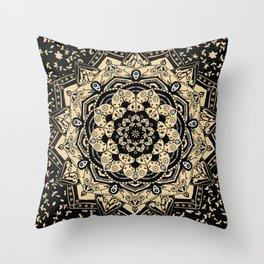 Indian Gold Mandala Throw Pillow