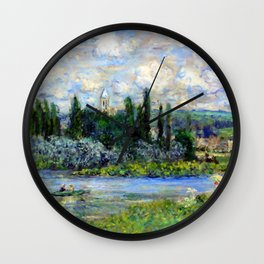 Claude Monet View of Vetheuil on the Seine Wall Clock