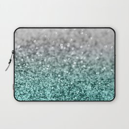 Silver Teal Ocean Glitter Glam #1 #shiny #decor #art #society6 Laptop Sleeve