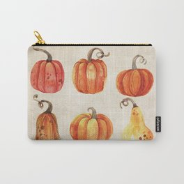 Autumn Gourds - Pumpkin Watercolor on Antique White Carry-All Pouch
