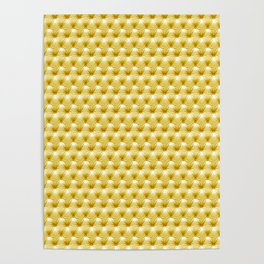 Faux Golden Leather Buttoned Poster