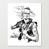 tank girl Canvas Prints featuring Tank Girl by Liana Buszka